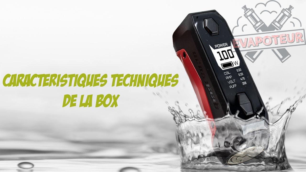 Caractéristiques techniques de la Box Aegis Solo 100W Geekvape